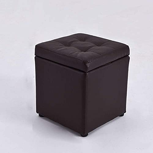 BHBXZZDB Ottoman Pouffe Leather Footstool, Square Storage Stool Modern Minimalist Living Room Sofa Foot Stools Solid Wood Small Seat Chair Non-Slip Waterproof,Black