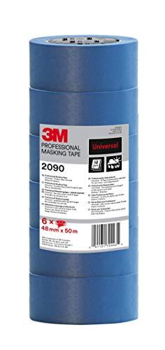 3M 2090 Profi Malerband für glatte Oberflächen, UV-beständig, innen und außen, Vorteilspack mit 6 Rollen, 48 mm x 50 m