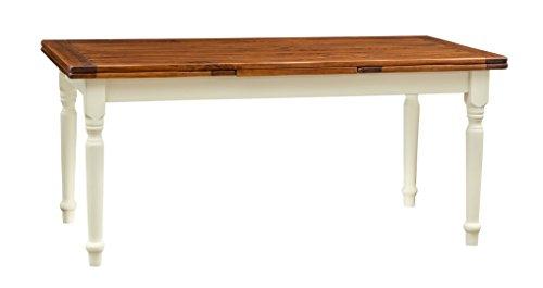 Tavolo allungabile in legno massello di tiglio - Stile Country - Struttura bianca anticata piano noce 180x90x80 cm