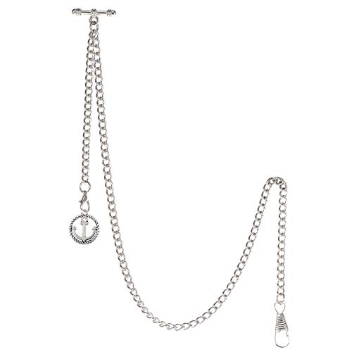 TREEWETO - Reloj de bolsillo con cadena Albert para hombre, 2 ganchos con colgante de ancla antigua, diseño de colgante de plata