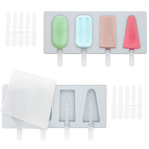 SITAKE Juego de 2 moldes de silicona para paletas de hielo, 4 cavidades caseras con 2 tapas y 18 varillas de plástico reutilizables, de grado alimenticio, sin BPA, para hacer helados (gris)