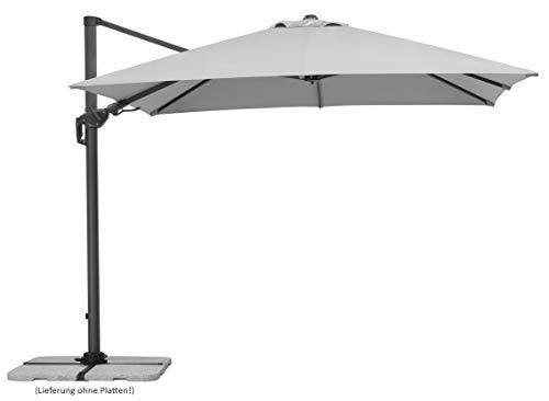 Schneider Schirme Sonnenschirm Rhodos Twist, silbergrau, ca. 300 x 300 cm, 8-teilig, quadratisch Sonnenschirm