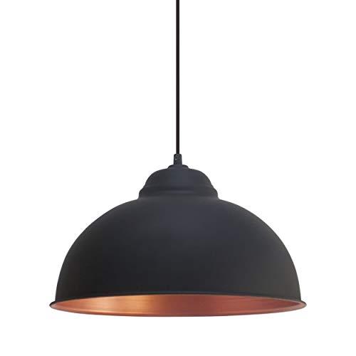 Eglo Lustre Truro 2, Suspension à Flamme au design Industriel, Lampe Pendante Rétro en Acier, Couleur : Noir, Cuivre, Douille : E27