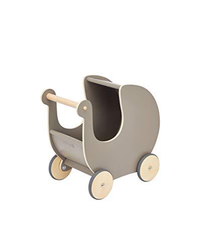 Sebra Puppenkinderwagen aus Holz, warm Grey