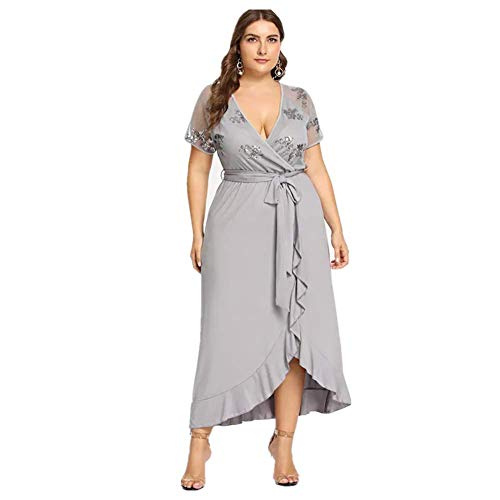 Lover-Beauty Paillettenkleid Damen Abendkleid Bodenlang Chiffon Standesamtkleid, Grau-paillette, (EU50-52)3XL