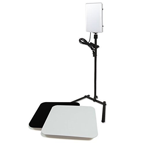 LS Photography LGG765 - Panel de luz LED con Adaptador de extensión de Cuello de Cisne y acrílico Reflectante, Color Blanco y Negro