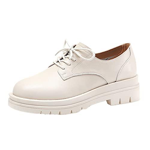 Mujeres Oxford Shoes Casual Encaje-up Elegante Estilo británico Estilo británico Zapatos de Cuero Resistente al Desgaste de la Plataforma Antideslizante Zapatos de Vestir
