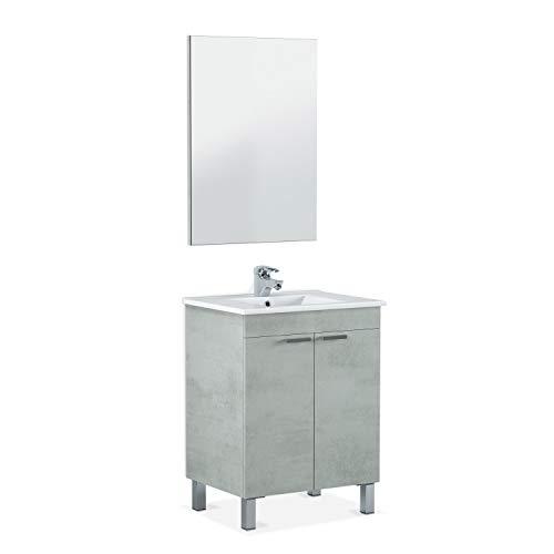 ARKITMOBEL - Mueble de baño LC1, modulo 2 Puertas con Espejo Acabado en Color Cemento, Medidas: 60 cm (Largo) x 80 cm (Alto) x 45 cm...