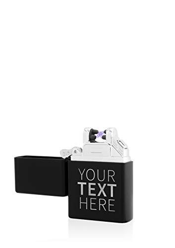 TESLA Lighter T03 Lichtbogen Feuerzeug Elektronisch, mit Wunsch-Gravur, personalisiert als Geschenk zu Weihnachten, Geburtstag etc. wiederaufladbar per USB inkl. Geschenkverpackung Matt-Schwarz