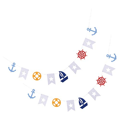 LOVIVER 2x Sailor Nautical Banner Anchor Sailboat Yacht Lighthouse Garland Bunting Sign for Birthday Party, Baby Shower, Anniversary Party Decoration Supplies