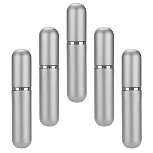 Hemoton 5 Pièces Portable Mini Parfum Rechargeable Vide Petit Vaporisateur Voyage Poche Cologne Pulvérisateur 5Ml Argent