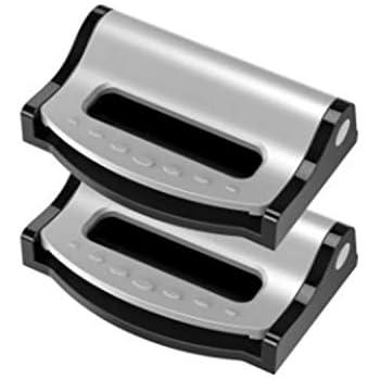 Doyeemei 調整可能なロックバックル運転または乗馬 テンション調整安全なカーシートベルトクリップストラップ カーシートベルトアジャスター 2個 Sliver