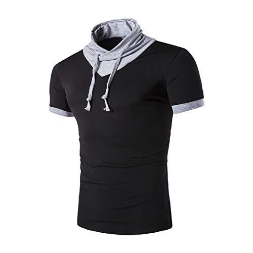 Manga Corta Hombre Verano Personalidad Empalme Hombre Casuales Camisa Básica Elástica Shirt Ajustado Casual T-Shirt Aire Libre Entrenamiento Creativa Deportiva Camisa B-Black XL