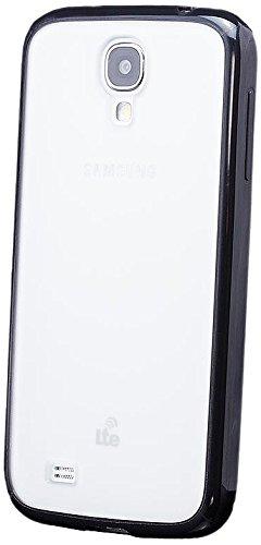 iCues Samsung Galaxy S4 |  TPU Bumper mit Matte Rückseite Hülle Schwarz | [Bildschirm Schutzfolie Inklusive] Transparent Klarsichthülle Durchsichtig Klare Klarsicht Silikon Gel Schutzhülle Hülle Cover Schutz