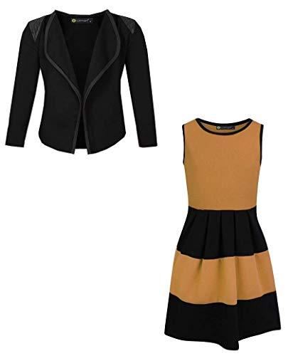 LOTMART Mädchen ärmelloses Skaterkleid Bündel mit Mädchen Jacke Blazer - Senf und schwarz, 134-140