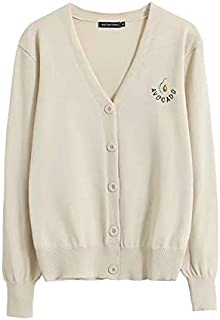 Autumn New Women's Avocado Embroidery Front Button Knit Cardigan Women's Loose V-Neck Sweater Coat (Color : Beige, Size : M)