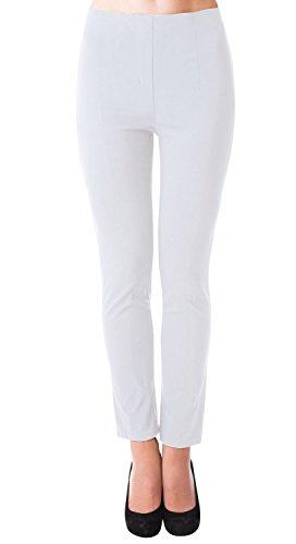 Danaest Damen Stretch Hose gerades Bein (491), Grösse:XL, Farbe:Weiß