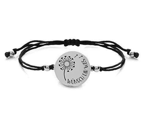 Silvity Freundschafts-Armband Stoff Pusteblumen-Armband Gravur-Text (Motiv:Wünsch Dir Was Farbe: Silber)