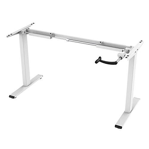 E.For.U® Q3 höhenverstellbarer Schreibtisch Kurbelverstellbares Tischgestell (Manuell, Weiß)