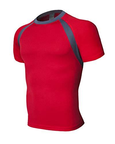 B/H Camiseta Deportiva de Manga Corta para Hombre,Camiseta de Manga Corta con Cuello Redondo para Hombre, Ropa Deportiva Deportiva para Correr-Red_4XL