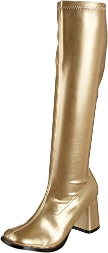 Funtasma by Pleaser Women's Gogo-300 Boot,Gold Stretch,7 M