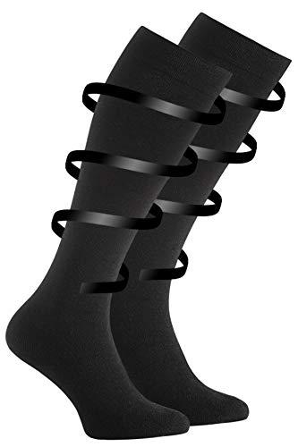VCA 2 Paar Stütz und Reisekniestrümpfe, Unisex. Handgekettelte Fußspitze (39/42, schwarz)