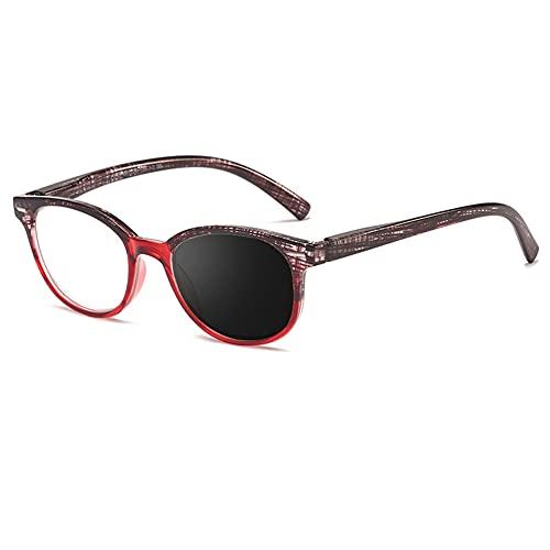 EYEphd Ladies Smart Bifocal HD de Lectura de Lentes, Lentes de Resina asférica de Gafas de Sol fotocrómicas al Aire Libre /UV400 ampliación +1.0 a +3.0,Rojo,+1.0