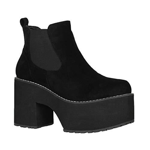 Elara Damen Stiefelette Plateau Ankle Boots Schwarz Chunkyrayan Q-76 Black-37