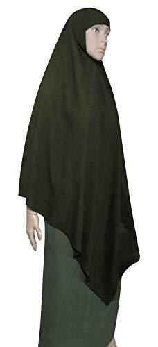 "Dark Green 57"" Islamic Muslim Triangle Khimar Hijab Hejab Abaya Niqab Burqa Burkas Veil Eid Islam Face Cover Veil Dress Clothing For Muslim Women Womens Abaya Jilbab Extra Long Amira Prayer Overhead"