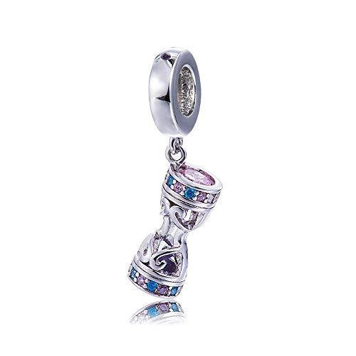 Bolenvi Reloj de arena con cristales de Swarovski de plata de ley 925 con clip para pulseras o collares similares