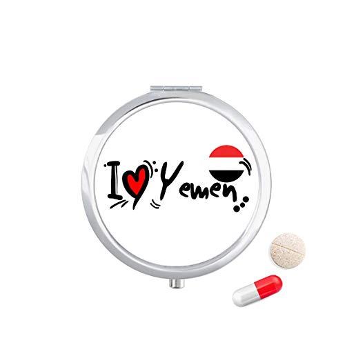 DIYthinker Ik hou van Jemen Woord Vlag Liefde Hart Illustratie Reizen Pocket Pil Case Medicine Drug Opbergdoos Dispenser Spiegel Gift