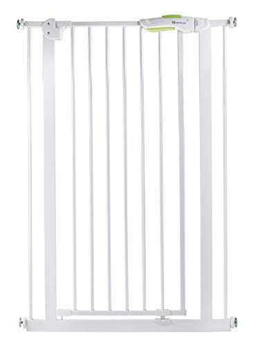 Venture Q-Fix Extra Tall Pressure Fit Pet Safety Gate | 75 - 84cm Wide, 110cm Extra Tall | Unique 90° Two Way Open/Stay Door, Auto close Function (White, 75-84cm)