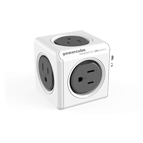 Allocacoc PowerCube |Original|, 5 outlets, Surge Protection, Wall Plug, Cellphone Charger, Compact for Travel, Home and Office, Space Saving, Child Proof sockets, ETL Certified(Grey)