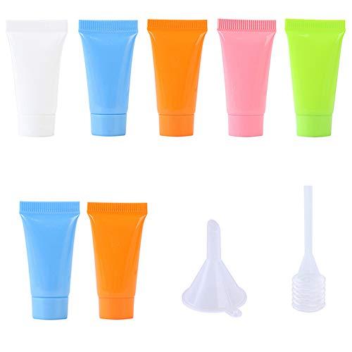 PRETYZOOM 10 Stück Kosmetikflaschen mit Tropftrichter Probeflasche Leere Plastik Quetschflasche Shampoo Lotion Behälter Zufällige Farbe
