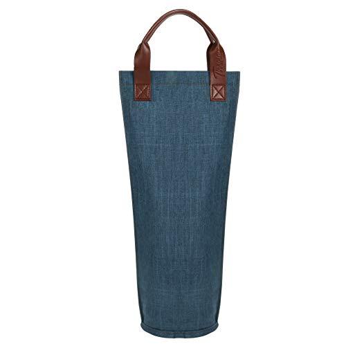 Kato Flaschentasche für 1 Flasche bis 1 Liter Kühltasche für Wein Bier Getränke bis 1 Liter Outdoor Tragetasche mit Trennwand Griff Schultergurt Gratis Korkenzieher, Blau