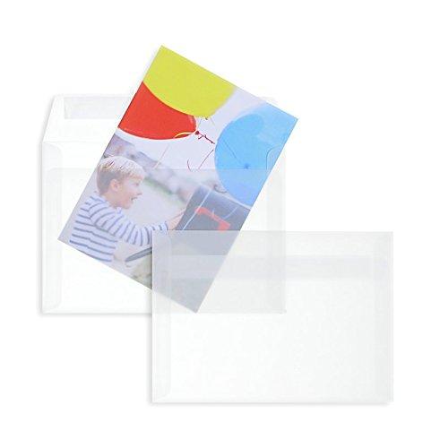 100 Stück, Transparente Briefumschläge, DIN C6, Haftklebung mit Abziehstreifen, Gerade Klappe, 92 g/qm Offset, Ohne Fenster, Weiß (Transparent-Weiß), Blanke Briefhüllen