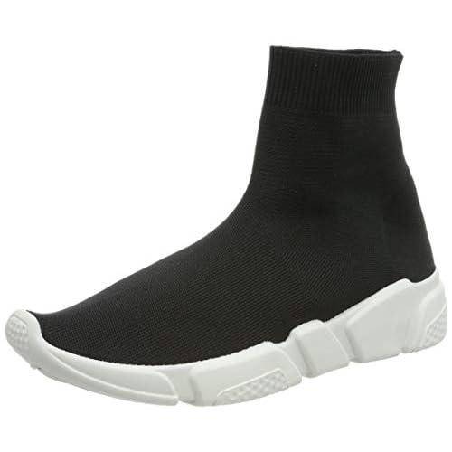 MForshop Scarpe Donna Ginnastica Sneakers calzino No Lacci Palestra Corsa K3600 (39, Nero)