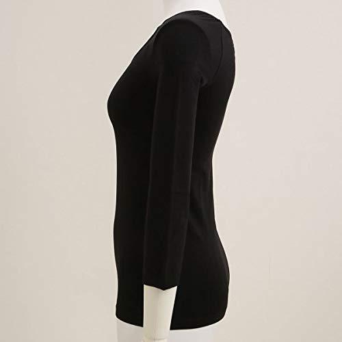 (アツギ)ATSUGI着るタイツ180デニール8分袖Uネックインナー日本製あったか(BK-ブラック、L)
