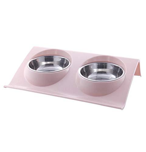 De nieuwe kom voor huisdieren met dubbele kom voor honden van roestvrij staal, dubbele wasbak, kan water en voedsel gescheiden van elkaar scheiden of twee dieren samen gebruiken, met 3 kleuren.