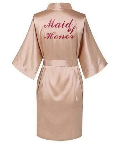 AAJTCT Aangename rode letters, jurken, pyjama, badjas, Kimono van Nightgown, bruidsmode van satijn, avondjurk, voor dames (kleur: champagne, maid of ho, maat: XXXL)