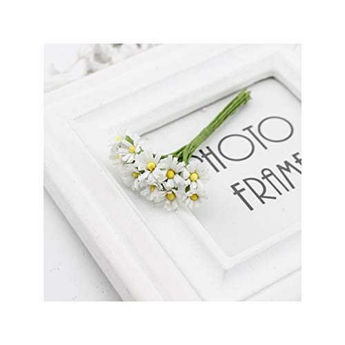 KenFandy 10 Pcs Daisy Silk Artificial Flower Bouquet For Home Wedding Scrapbooking Gift Box Decoration DIY Wreath Craft Fake Flower,White