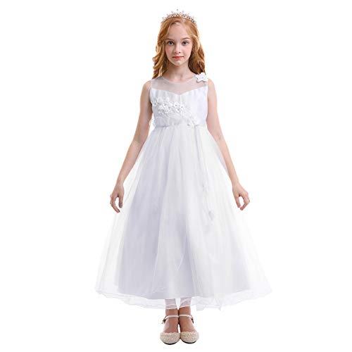 OBEEII VestidoElegante de Niña Vestidos Floral Largos de Encaje Ropa Verano Disfraz de Princesa para Fiesta CeremoniaComuniónBoda Madrina Cumpleaños Carnaval Baile Noche Prom 5-14 Años