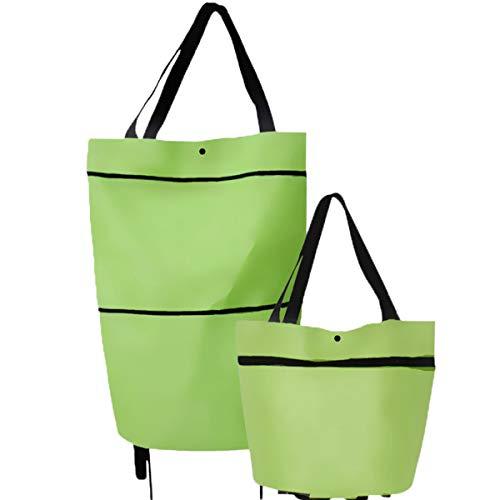 エコバッグ 買い物袋 折りたたみ ショッピングカート バッグ ショッピングバッグ 軽量 丈夫 レジ袋 コンビニバッグ 大容量 人気 2輪キャスター付き 持ち運びやすい 買い物バッグ (草の緑)