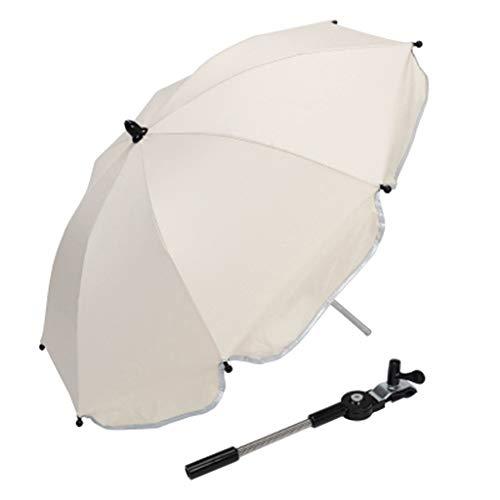 F Fityle Universal Paraguas para Carrito, Sombrilla para Cochecito de bebé, UV 50 + Protección Solar - Blanco