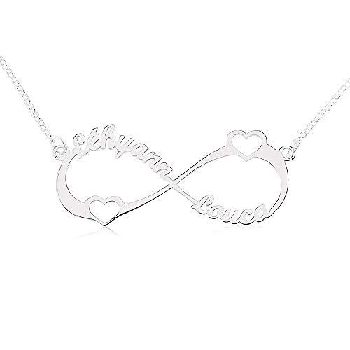 Godmoy 925 Sterling Silber Unendlichkeit Namenskette • Personalisierte Unendlichkeit Namenskette • Namenskette Geschenke für Sie anpassen • Zwei Namen Zwei Herzen