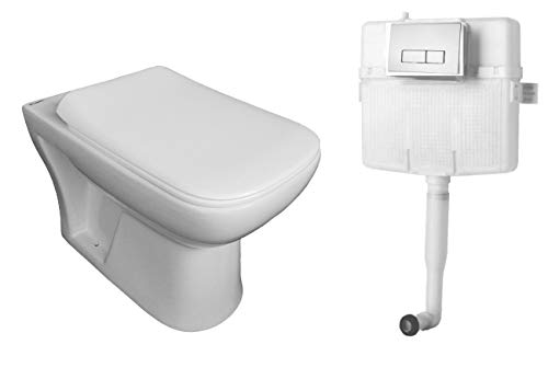 Belmonte Combo of Western Commode/Toilet/EWC Square S Trap for Bathroom with Slim Soft Close Seat Cover and 80mm Thick Dual Flush Concealed Cistern/Flush Tank with Push Flush Plate (White)