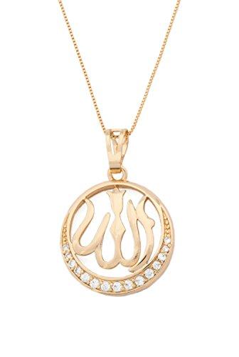 Remi Bijou Halskette mit Namen Allahs auf arabisch Islam Gold Farbe Strass