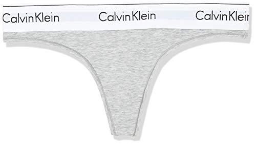 Calvin Klein Damen String MODERN COTTON - THONG, Gr. 38 (Herstellergröße: M), Grau (GREY HEATHER 020)