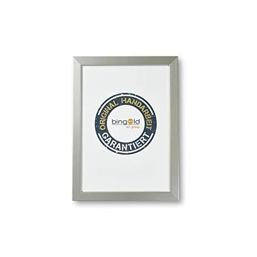 Online Galerie Bingold Bilderrahmen Urbino 2,0 Silber I 30 x 40 cm mit Museumsglas (WRU) I handgefertigter Holz Fotorahmen Posterrahmen Urkundenrahmen I Leerrahmen Holz inklusive Montagematerial