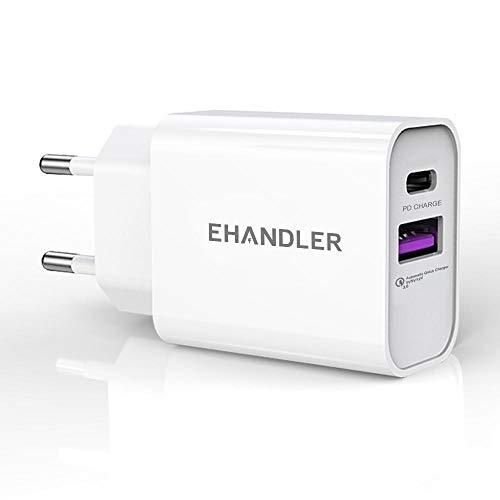 EHANDLER Cargador para iPhone, 20 W 2 Puertos 3.0, Cargador Compacto, Fuente de alimentación USB-C para iPhone 12/12 Mini/12 Pro/12 Pro MAX, Galaxy, Pixel 4/3, iPad Pro, AirPods Pro, y más/Blanco